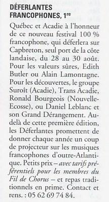 1999, 2ème Déferlantes Francophones : Ronald Bourgeois, Maurice Segall, Marie-Jo Thério et Jim Corcorran