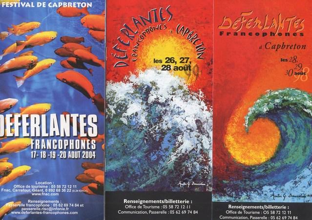 Dépliants des Déferlantes Francophones de Capbreton : 2004, 1999 et 1998