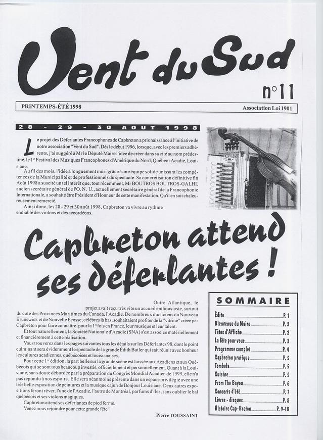 Printemps 1998 : dans son bulletin d'information, Pierre Toussaint annonce la création des Déferlantes Francophones de Capbreton