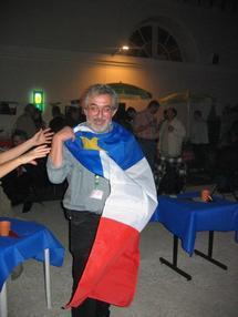 Octobre 2004, durant L'Estival à Saint-Germain-en-Laye : drapeau acadien à l'honneur