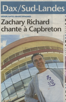 20 août 2004, quotidien Sud-Ouest : Zachary Richard à la une