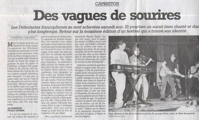 8 août 2000, dans Sud-Ouest, au lendemain des 3ème Déferlantes Francophones