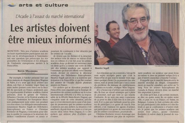 11 novembre 2004, durant la Franco-Fête de Moncton : entretien dans le quotidien L'Acadie Nouvelle