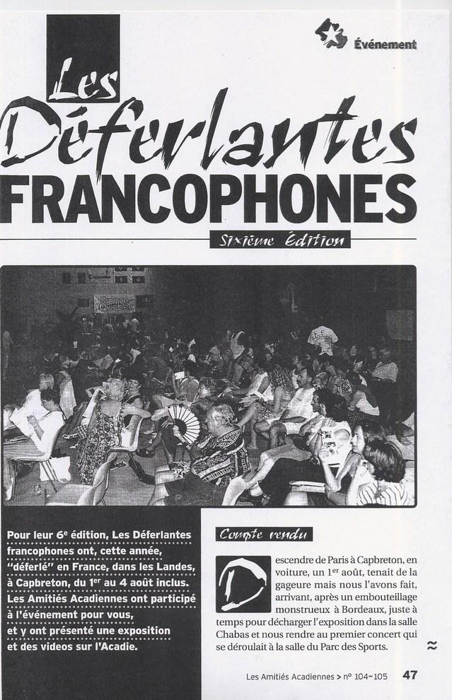 Déferlantes Francophones 2003 : plusieurs pages leur sont consacrées dans la publication des Amitiés Acadiennes