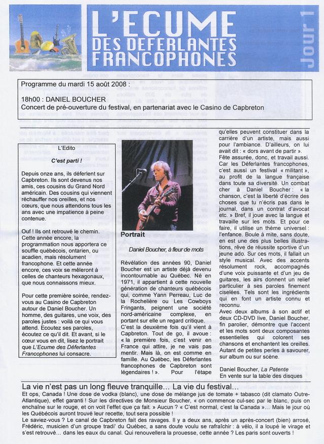 Un des bulletins d'information distribué chaque jour durant les dernières Déferlantes Francophones à Capbreton
