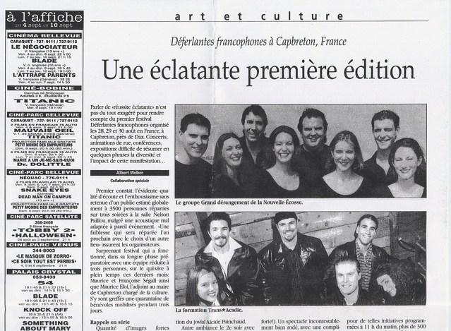 8 août 1998, quotidien L'Acadie Nouvelle après les premières Déferlantes Francophes à Capbreton