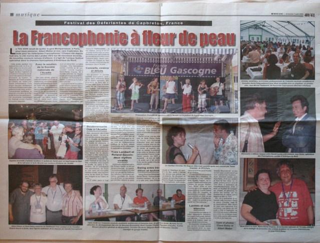 Août 2005 : double page sur les Déferlantes à l'Ile Maurice, dans l'hebdomadaire Week-End, à l'initiative d'Albert Weber et Clarel Betsy