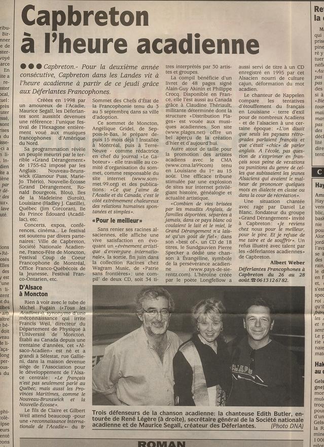 26 août 1998, Dernières Nouvelles d'Alsace : coup de projecteur sur les premières Déferlantes Francophones de Capbreton