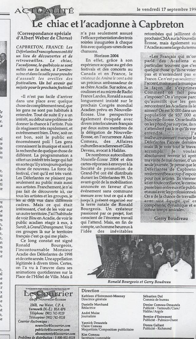 17 septembre 1999, Courier de Nouvelle-Ecosse : compte-rendu des 2ème Déferlantes suite aux contacts pris par Gerry Boudreau