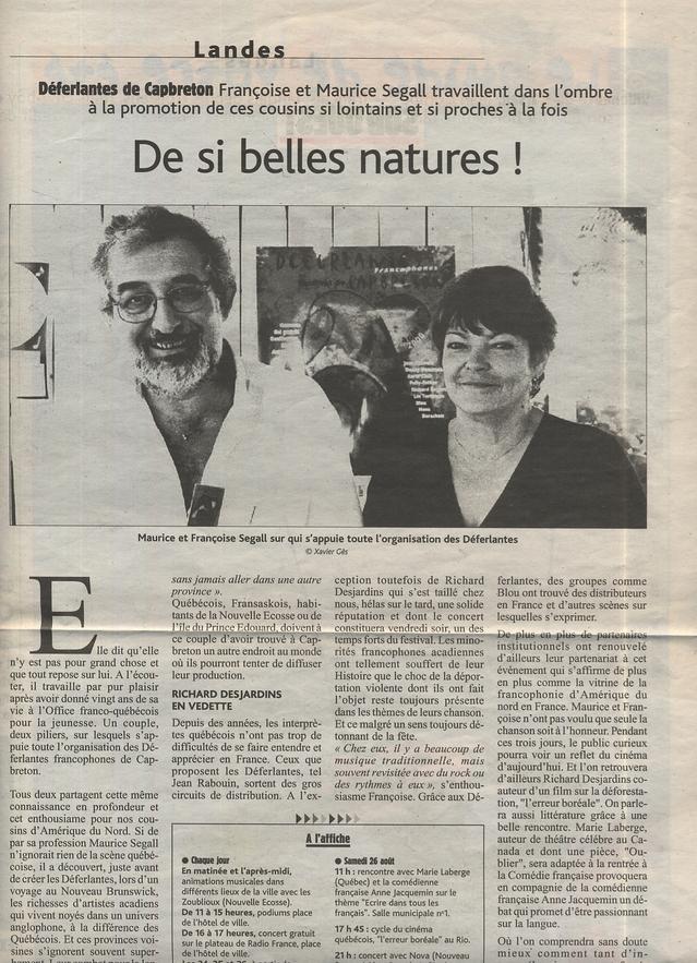 Août 2000 : Passerelle Francophone alias Maurice et Françoise dans le quotidien Sud-Ouest