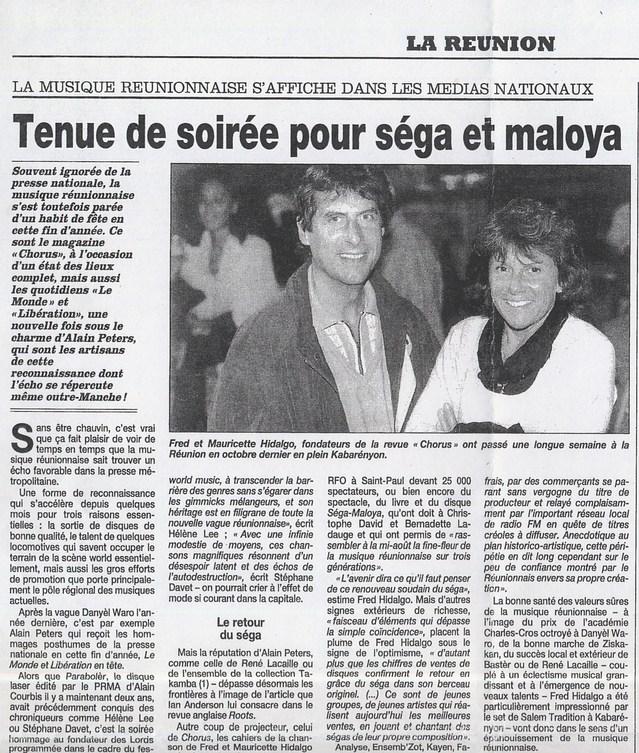 Quotidien de la Réunion, 31 décembre 2000, Fred et Mauricette en reportage dans l'océan Indien