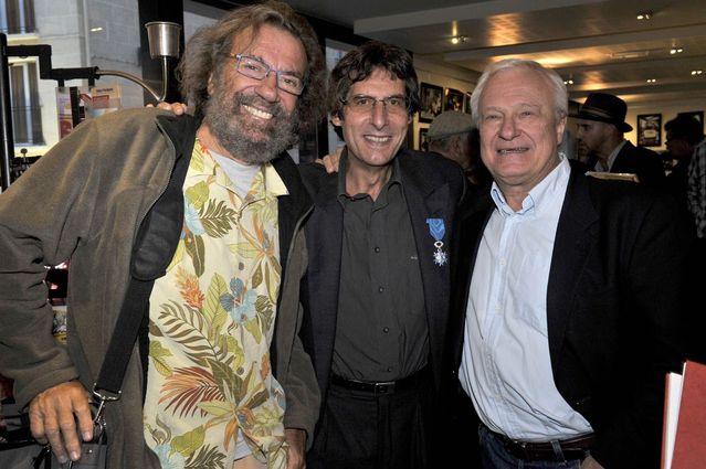 Avec Antoine et le romancier Patrice Dard. Au second plan à droite le chanteur acadien Joseph Edgar
