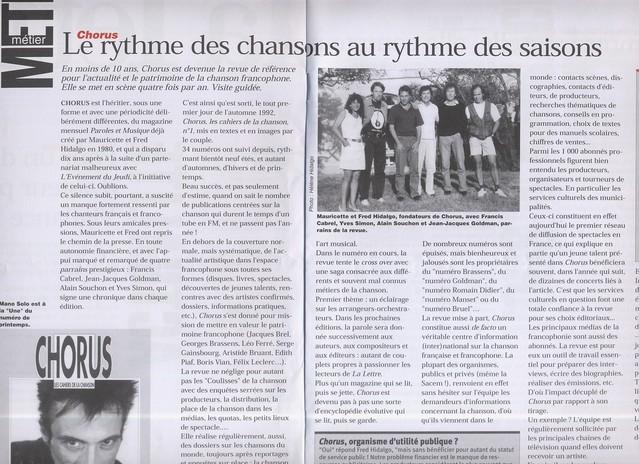 Avril 2001, double page sur Chorus dans la lettre bimestrielle des sociétaires de la SACEM