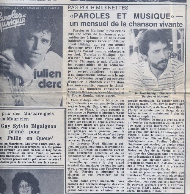 Hedbomadaire Week-End, Ile Maurice : 12 mai 1985, à l'époque de Paroles et Musique ...