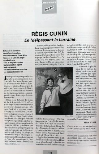 REGIS CUNIN PORTRAIT CHORUS